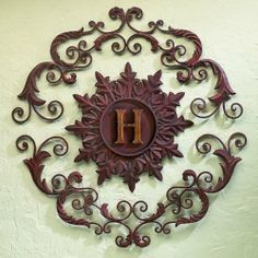 """33"""" Round Personalized Monogrammed Iron Metal Fleur De Lis Hanging Wall Grille by Cheap-Chic Decor. $196.99. 33"""" diameter as shown in picture.. 33"""" Round Personalized Monogrammed Iron Metal Fleur De Lis Hanging Wall Grille. Hand made, hand crafted and hand painted in a multi-step process. Rustic Brown-Gold Finish. Forged by master craftsmen of iron and tole. Add a custom touch to your Tuscan Mediterranean styled home with this personlaized 3 section wall plaque. 2 scrolling met..."""