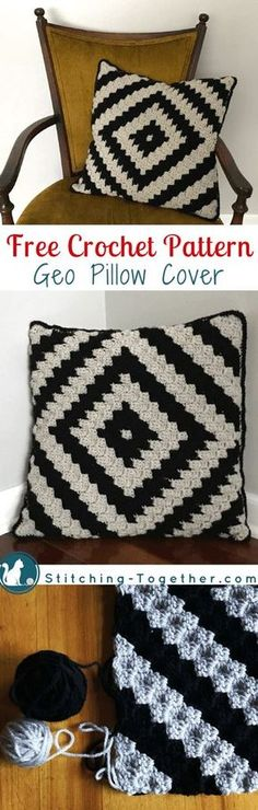 Free crochet pattern for a beautiful and trendy pillow. Crochet pillow cover #freecrochetpattern #crochet