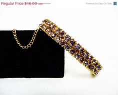 Purple Rhinestone Hinged Bracelet with Safety Chain - Bangle Style Metal Design with Rhinestones - 1960's era