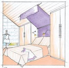 Use sloping ceilings - THE HOUSE Liven up your sloping roof with breaks, for example by using gaps for a four-poster bed. Frameless Shower Enclosures, Frameless Shower Doors, Corridor Design, Hall Design, Attic Design, Interior Design, Large Furniture, Cool Furniture, Framed Shower Door