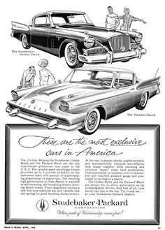 1958 Studebaker & Packard Hawks. Some one next to work has one of these. He really leaves a burn mark in the parking lot when he hits the accelerator
