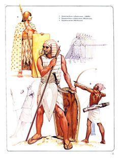 1:Sumerian heavy infantryman,2300 BC.2:Egyptian Heavy infantryman,,19th Dynasty.3:Egyptian archer,19th Dynasty.