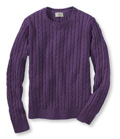 Double L Cotton Sweater, Long-Sleeve Cable Crewneck: Crewnecks | Free Shipping at L.L.Bean - $39.95