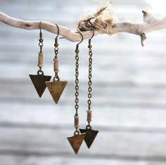 Tribal Earrings Long or Short Arrow Earrings by KapKaDesign