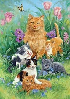 Meadow Cats Garden Flag - Unknown Artist