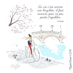 Réflexion du jour, bonjour! Velo Paris, Magic Words, Cute Disney, Cute Illustration, Travel Illustration, Quote Prints, Art Drawings, Pretty Drawings, Graphic Art