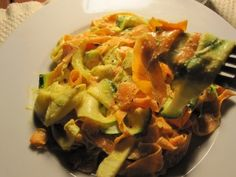 Creamy Fettucini Alfredo with Zucchini and Carrot Pasta- This is totally veggie-fied, and I am super excited to try it!