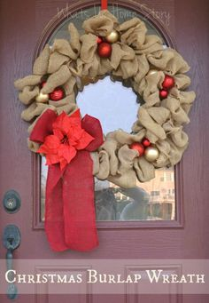Make Burlap Wreath Christmas 5