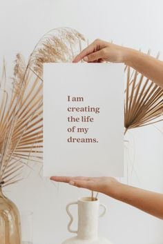 I Am Creating The Life Of My Dreams, Digital Printable Digital Form, Digital Wall, Online Printing Companies, The Life, Printable Wall Art, My Dream, Affirmations, Lucky Penny, Printables