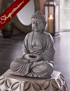 Meditating Stone Like Buddha Decorative Statue Centerpiece