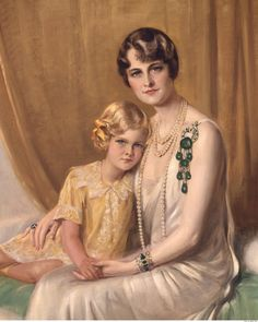 Marjorie Merriweather Post, with daughter, Dina Merrill, wearing the Cartier diamond and emerald brooch 1928