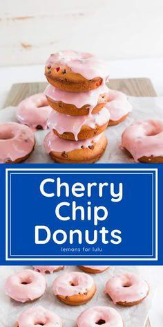 These tender cherry donuts are studded with chococolate chips and baked up tender and soft! A sweet cherry glaze is drizzled on top! Egg Recipes For Breakfast, Savory Breakfast, Sweet Breakfast, Breakfast Time, Breakfast Ideas, Best Donut Recipe, Donut Recipes, Easy Desserts, Dessert Recipes