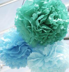 Blauwe pompom's