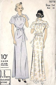 1930s Misses Nightgown Vintage Sewing Pattern by MissBettysAttic, $30.00