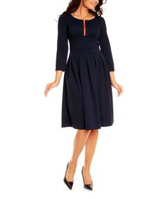 Another great find on #zulily! Navy Zipper Fit & Flare Dress #zulilyfinds