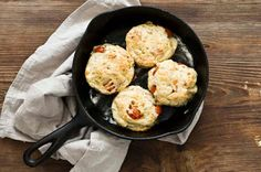 tomato cheddar bacon biscuits: biscuits aren't just for breakfast and these savory biscuits are no different. They go well with many things, including soups, salads, and fried chicken. Though they can also be enjoyed simply on their own with a generous pat of cold, sweet butter.