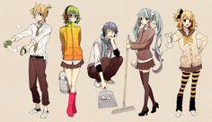 vocaloid characters casual | Vocaloid - Gumi - Hatsune Miku - Kagamine Len - Kagamine Rin - Kaito