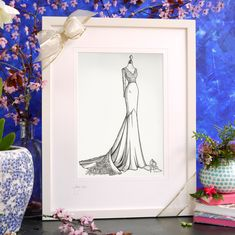 Our bespoke wedding dress drawing s are the perfect elegant anniversary gift or as a stand out wedding day present. Wedding Dress Drawings, Wedding Dress Illustrations, Wedding Day Gifts, Bride Gifts, Custom Wedding Dress, Wedding Dresses, Photo Supplies, 1st Anniversary Gifts, Most Beautiful Dresses