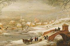 A Winter River Landscape  by Joos or Josse de, The Younger Momper
