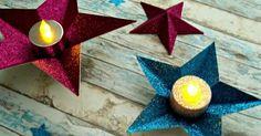 Bonitos portavelas DIY con estrellas de papel