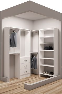 "Classic White Wood 75 x 65 ½"" Walkin Closet Design 2 - wood malemine closet system Small Walkin Closet, Small Closets, Walk In Closet, Wardrobe Room, Wardrobe Design Bedroom, Closet Bedroom, Entryway Closet, Rustic Entryway, No Closet Solutions"