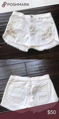 Free People denim embroidered shorts Excellent condition. Smokefree home. No trades. Free People Shorts Jean Shorts