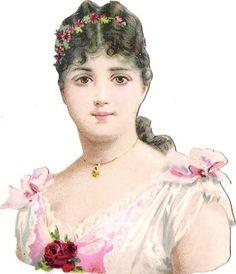 Oblaten Glanzbild scrap die cut chromo Lady Dame  9,3cm  femme head portrait