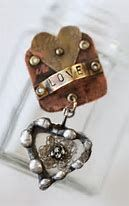 Image result for heart shaped mixed media jewelry collage