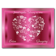 Deep Red and Pink Heart of Flowers Framed Postcard -  Inspired by Fantasy Wedding in Cleveland Ohio at Squires Castle 2/14/2014 - #wedding #bride #hearts #flowers