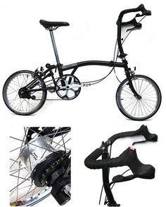 Black Brompton + 11 Speed Shimano Alfine Hub + Versa Shifters