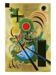 Premium Giclee Print: Solid Green Wall Art by Wassily Kandinsky by Wassily Kandinsky : Art Kandinsky, Wassily Kandinsky Paintings, Kandinsky Prints, Abstract Words, Abstract Art, Art Mural Vert, Musical Composition, Green Wall Art, Mid Century Art