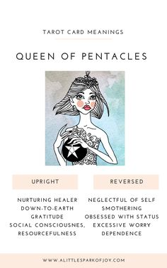 Find here the upright and reversed Queen of Pentacles Tarot Card meanings in relationship to love, career, health, and spirituality. Tarot Card Decks, Tarot Cards, Oil Painting Tips, Painting Art, Watercolor Painting, Grimoire Book, Tarot Card Meanings, Tarot Readers, Tarot Spreads