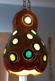 SALE 20 OFF Funky Hanging Gourd Lamp by cchanart on Etsy, $112.00
