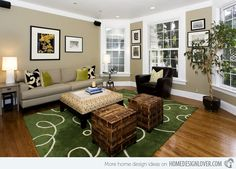 15 Lovely Grey and Green Living Rooms | Home Design Lover-- I love the light and gallery style of the walls and Windows. Like the rug.
