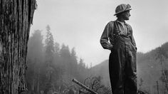 Photographer Larry Fink's images of loggers at work in Washington from the 1980s.