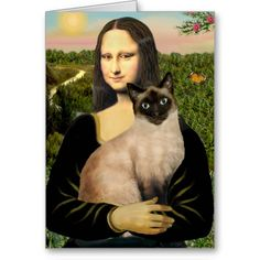 Mona Lisa and her Seal Point Siamese cat - card.  This design is also available on 100+ other products.