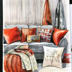 Home Decoration With Indoor Plants Info: 4958655499 Interior Architecture Drawing, Architecture Drawing Sketchbooks, Interior Design Renderings, Drawing Interior, Interior Rendering, Interior Sketch, Interior Concept, Architecture Design, Classical Architecture
