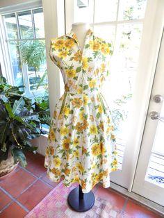 House Dress Button Slanted Pockets Day Dress Belt Cotton 1950s Yellow Gingham Shift Dress Sears Brand