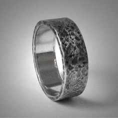 Rustic Mens Wedding Band Ring Unique Hammered Silver Customized