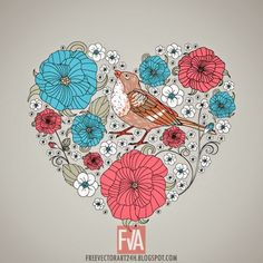 Abstract Floral Heart vector graphics - Free Vector Art