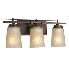 """View the Progress Lighting P3094 Riverside 3 Light Bathroom Vanity Light with Water Patterned Glass Shades - 19"""" Wide at Build.com."""