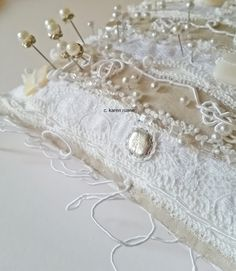 karen ruane: hankies, pin pillows and almost finished work. Contemporary Embroidery, Hand Stitching, Embellishments, Embroidery Hoops, Pillows, Paper, Bedroom, Embroidery, Ornaments