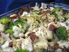 """Low-Carb Chicken and Bacon Casserole These recipes complement your SB MAX Weight loss program. Check out SBMAX HERE http://spiritoftheearth.SBC90.com Ingredients 3 lbs boneless skinless chicken breasts 1⁄2 lb bacon 2 cups broccoli 8 ounces provolone cheese, shredded 1 cup chicken broth 1⁄4 cup heavy cream 1⁄4 cup Dijon mustard 1 teaspoon oregano 1 teaspoon basil Directions Pre-heat oven to 350. Cut bacon into 1"""" pieces and fry until mostly crisp. Cut chicken into cubes and cook in a fryin..."""