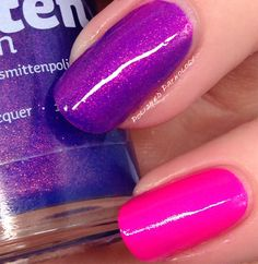 Smitten Polish You Saucy Minx over China Glaze Purple Panic