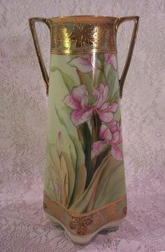 Vintage Circa 1911 Nippon Vase Hand Painted Irises Double Handled   eBay