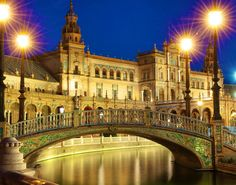 Night time Plaza de Espana, Seville, Spain color fine art photo art for home art for office, twilight photography. Plaza de Espana - possibly one of the most photogenic places I have ever visited. Available from 5x7 upwards - but this print works particularly well at larger sizes that properly capture the scale of this waterfront. Printed Premium Smooth Gloss paper. The 30x20 version is printed by a lab on my behalf, smaller sizes printed by me.