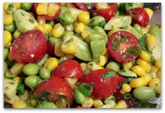 Avocado, tomato, corn and edamame salad (I use a little balsamic vinegar, olive oil and salt and pepper - YUMMY for summer side!)