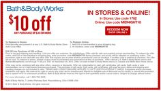 Pinned November 3rd: $10 off $30 at Bath & #Body Works, or online via promo code MIDNIGHT10 #coupon via The Coupons App