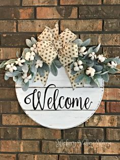 Large Round Door Hanger Welcome Door Hanger Farmhouse Style Year-round Door Swag Gallery Wall Décor Entryway Decor Lambs Ear Cotton Entryway Wall Decor, Front Door Decor, Welcome Door, Door Swag, Round Door, Lambs Ear, Craft Show Ideas, Christmas Signs, Porch Decorating