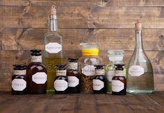 Скачать - Historic old pharmacy bottles with label   on wooden background — стоковое изображение #47839647